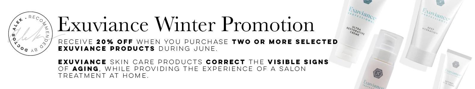 Exuviance winter promo Website Banner